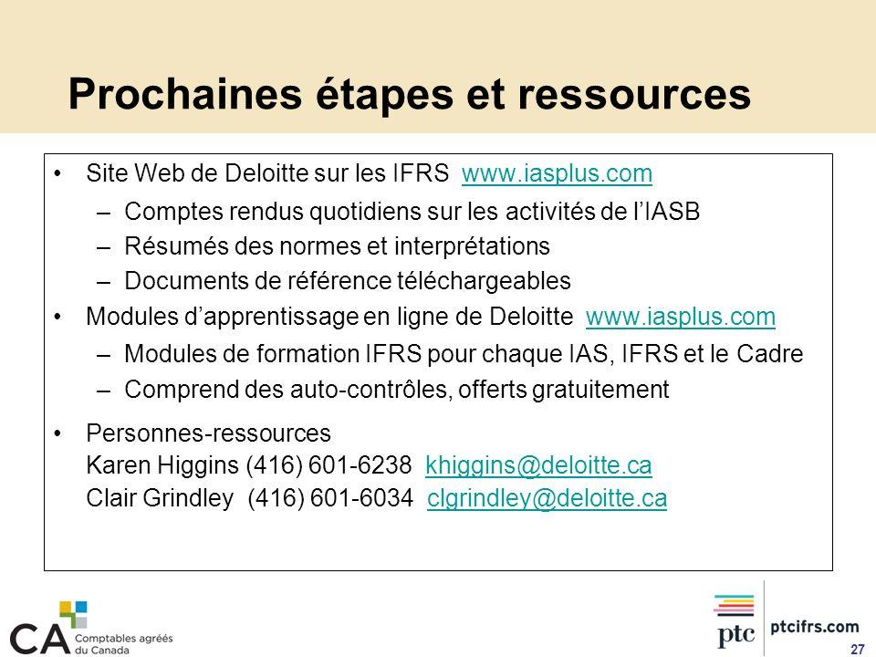 Prochaines étapes et ressources Site Web de Deloitte sur les IFRS www.iasplus.comwww.iasplus.com –Comptes rendus quotidiens sur les activités de lIASB