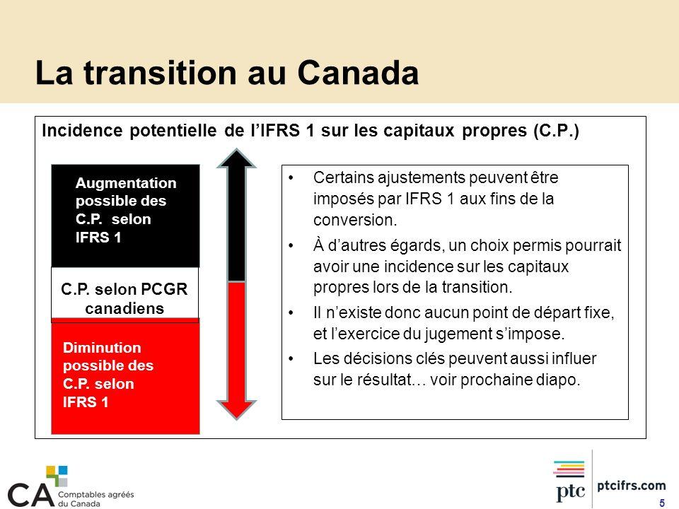 Prochaines étapes et ressources Formation et information sur IFRS 1 Cours offerts par lICCA (en anglais seulement) : Cours en immersion sur les IFRS (4 jours) Cours approfondi sur IFRS 1 : première adoption (3 jours) Cours offerts par les ordres provinciaux : Cours portant sur un sujet ou une norme IFRS spécifique Cours IFRS axés sur des secteurs dactivité À venir à lautomne 2009 – nouveau cours dun jour sur IFRS 1 Voir la liste exhaustive des cours et événements portant sur les IFRS : http://www.icca.ca/ifrs