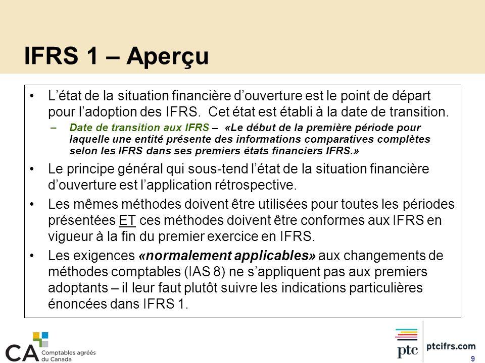 IFRS 1 – Aperçu Létat de la situation financière douverture est le point de départ pour ladoption des IFRS. Cet état est établi à la date de transitio