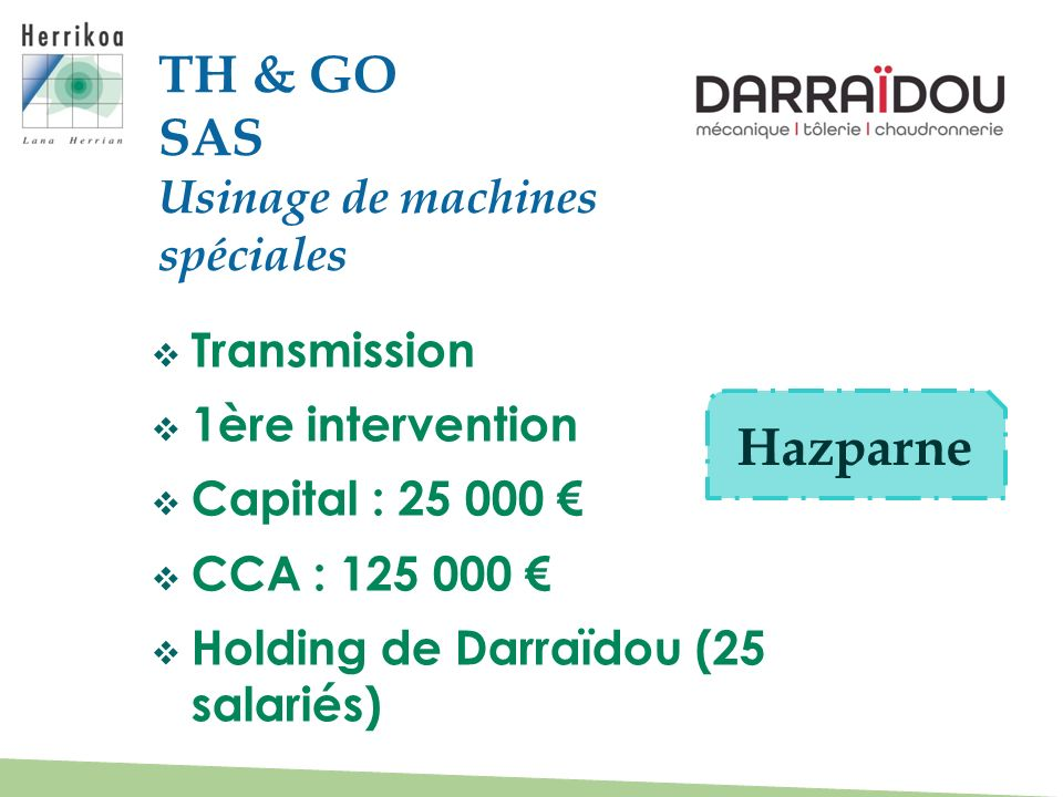 Transmission 1ère intervention Capital : 25 000 CCA : 125 000 Holding de Darraïdou (25 salariés) TH & GO SAS Usinage de machines spéciales Hazparne