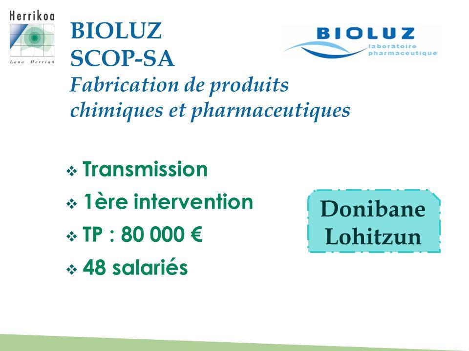 Transmission 1ère intervention TP : 80 000 48 salariés BIOLUZ SCOP-SA Fabrication de produits chimiques et pharmaceutiques Donibane Lohitzun