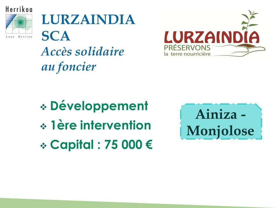 Développement 1ère intervention Capital : 75 000 LURZAINDIA SCA Accès solidaire au foncier Ainiza - Monjolose