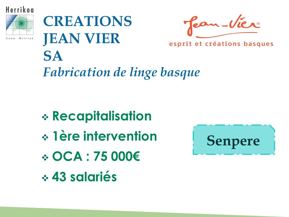 Recapitalisation 1ère intervention OCA : 75 000 43 salariés CREATIONS JEAN VIER SA Fabrication de linge basque Senpere