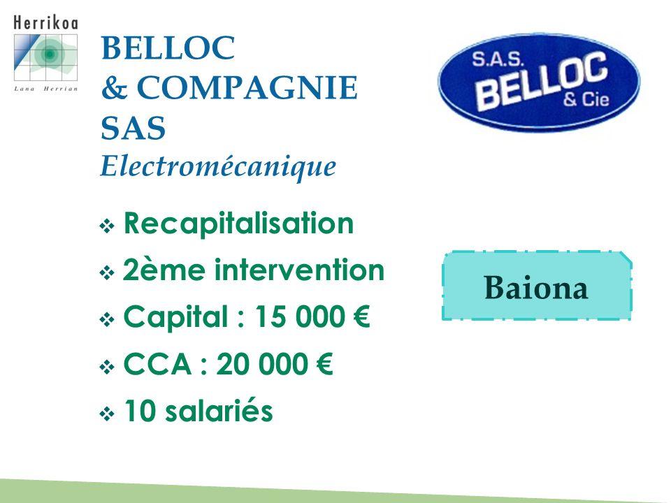 Recapitalisation 2ème intervention Capital : 15 000 CCA : 20 000 10 salariés BELLOC & COMPAGNIE SAS Electromécanique Baiona