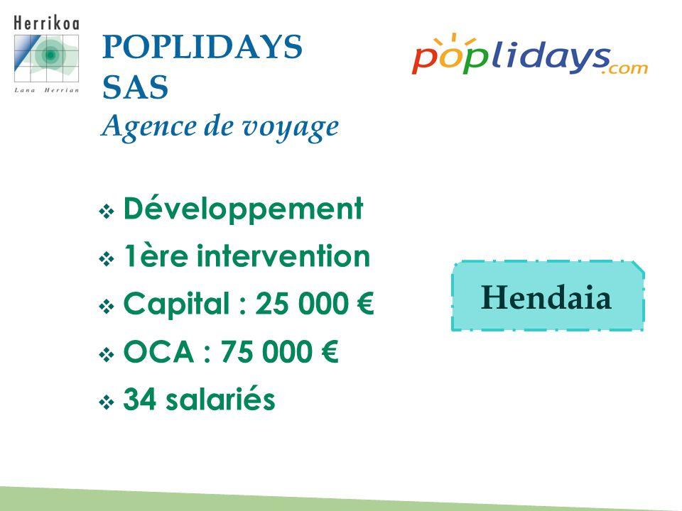 Développement 1ère intervention Capital : 25 000 OCA : 75 000 34 salariés POPLIDAYS SAS Agence de voyage Hendaia