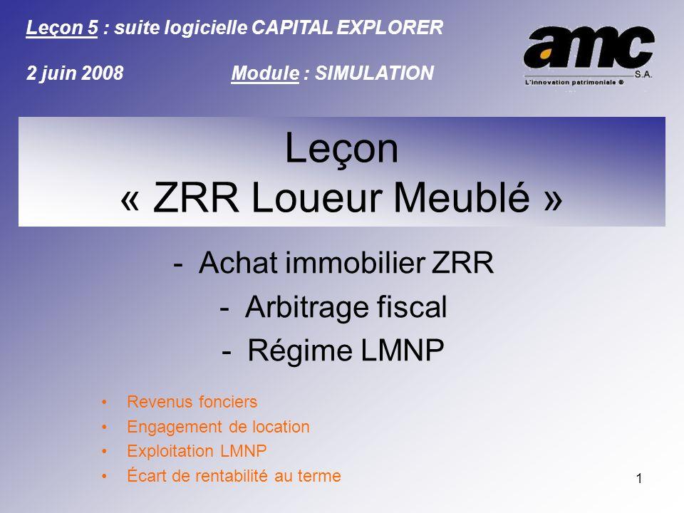 1 -Achat immobilier ZRR -Arbitrage fiscal -Régime LMNP Revenus fonciers Engagement de location Exploitation LMNP Écart de rentabilité au terme Leçon :