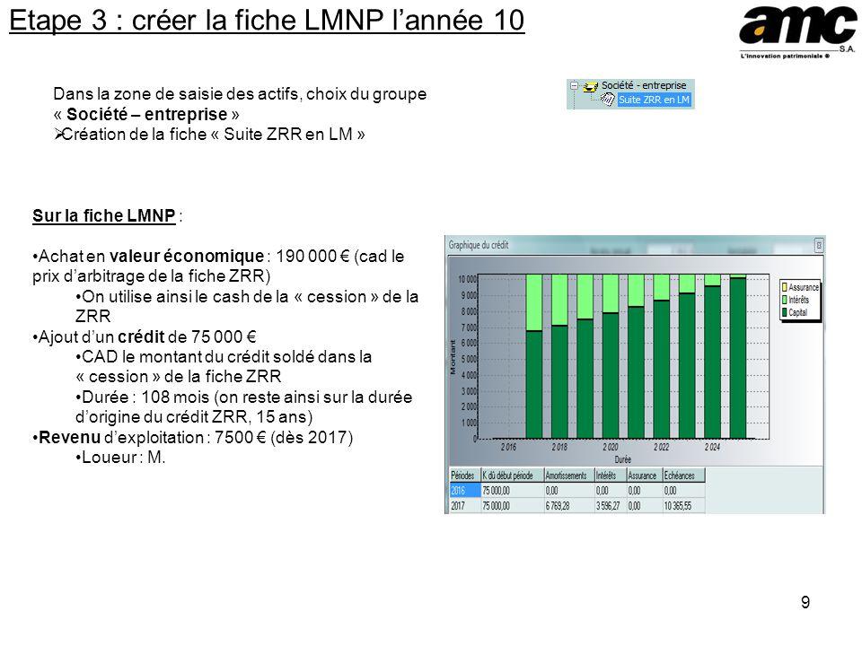 9 Etape 3 : créer la fiche LMNP lannée 10 Dans la zone de saisie des actifs, choix du groupe « Société – entreprise » Création de la fiche « Suite ZRR