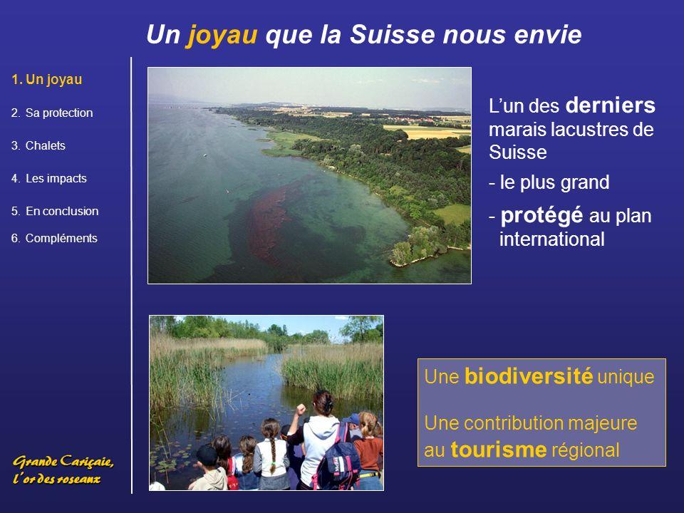 Un joyau que la Suisse nous envie 1.Un joyau 2.Sa protection 3.Chalets 4.Les impacts 5.En conclusion 6.Compléments Lun des derniers marais lacustres de Suisse - le plus grand - protégé au plan international Une biodiversité unique Une contribution majeure au tourisme régional