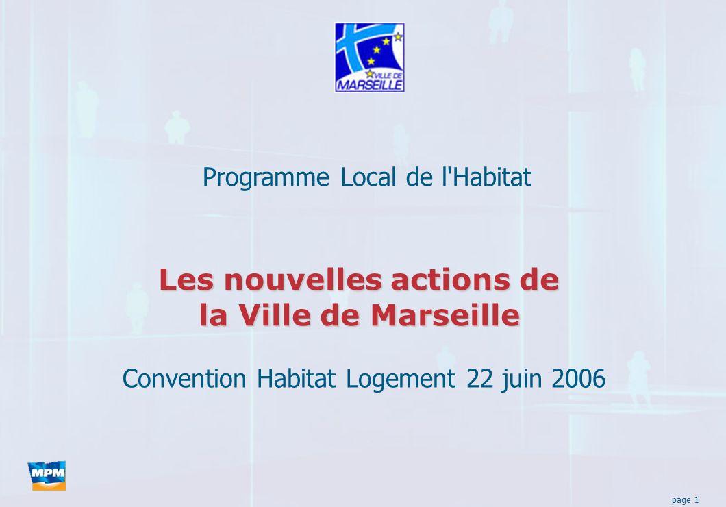 page 1 Les nouvelles actions de la Ville de Marseille Programme Local de l Habitat Convention Habitat Logement 22 juin 2006