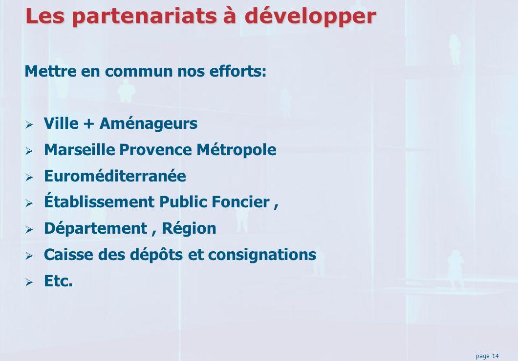 page 14 Les partenariats à développer Mettre en commun nos efforts: Ville + Aménageurs Marseille Provence Métropole Euroméditerranée Établissement Public Foncier, Département, Région Caisse des dépôts et consignations Etc.