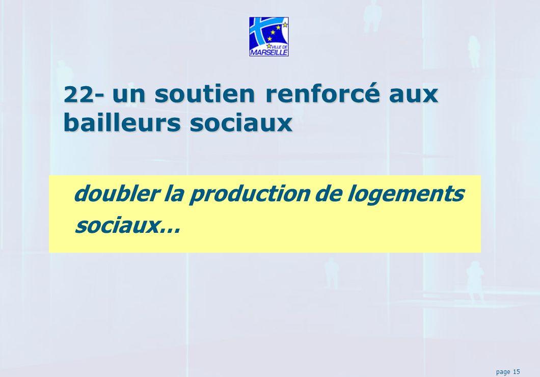 page 15 22- un soutien renforcé aux bailleurs sociaux doubler la production de logements sociaux…
