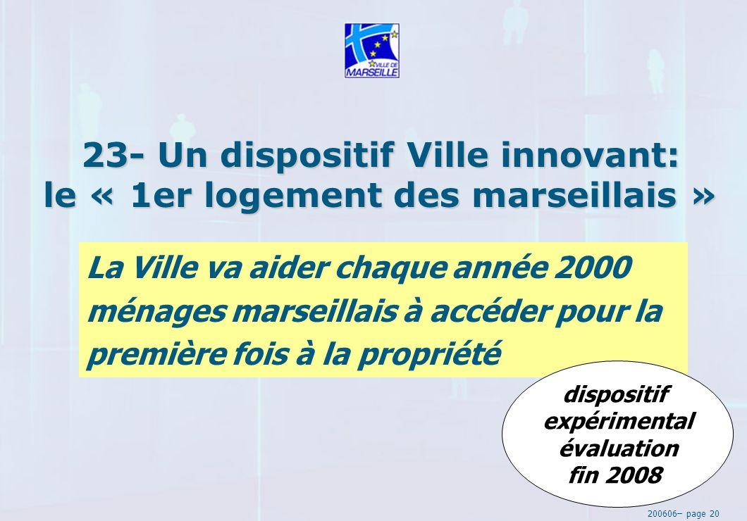 200606– page 20 23- Un dispositif Ville innovant: le « 1er logement des marseillais » La Ville va aider chaque année 2000 ménages marseillais à accéder pour la première fois à la propriété dispositif expérimental évaluation fin 2008