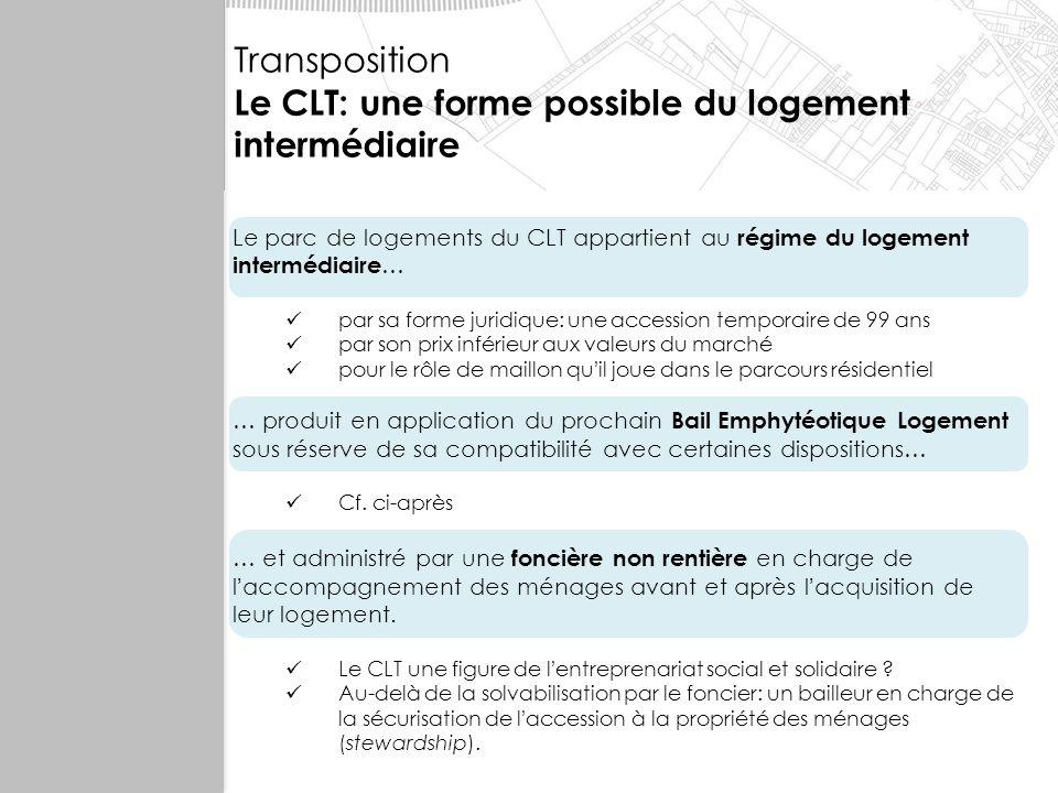 Octobre 2007 Le modèle du CLT Evaluation Transposition Le CLT: une forme possible du logement intermédiaire Le parc de logements du CLT appartient au