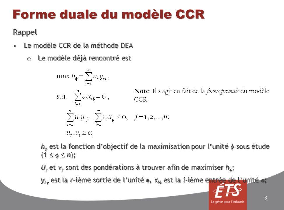 Forme duale du modèle CCR Rappel Le modèle CCR de la méthode DEALe modèle CCR de la méthode DEA o Le modèle déjà rencontré est h est la fonction dobjectif de la maximisation pour lunité sous étude (1 n); U r et v r sont des pondérations à trouver afin de maximiser h ; y r est la r-ième sortie de lunité, x i est la i-ième entrée de lunité ; 3 Note: Il sagit en fait de la forme primale du modèle CCR.