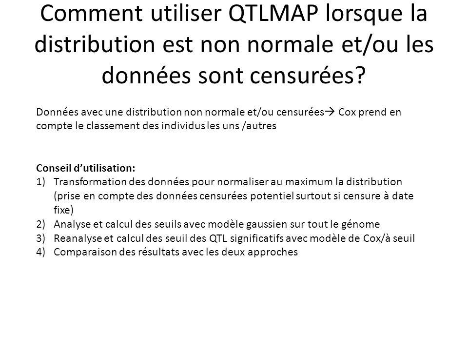 Comment utiliser QTLMAP lorsque la distribution est non normale et/ou les données sont censurées? Données avec une distribution non normale et/ou cens