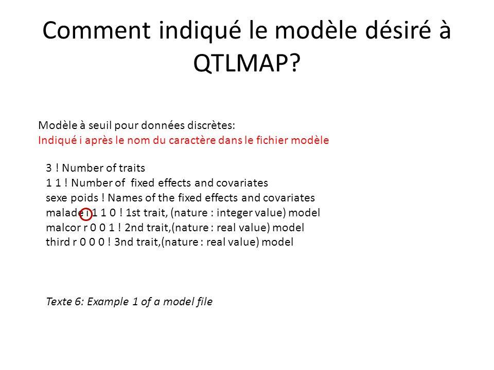 Comment indiqué le modèle désiré à QTLMAP? Modèle à seuil pour données discrètes: Indiqué i après le nom du caractère dans le fichier modèle 3 ! Numbe