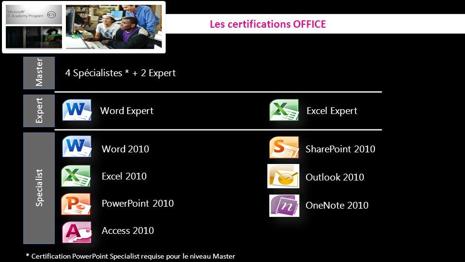 Specialist Word 2010 Excel 2010 PowerPoint 2010 Access 2010 SharePoint 2010 Outlook 2010 OneNote 2010 Expert 4 Spécialistes * + 2 Expert Excel Expert