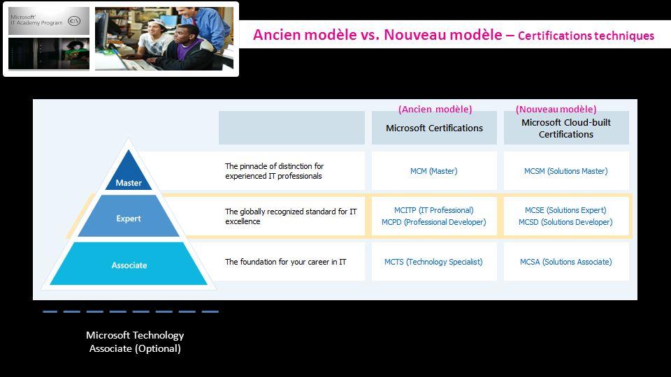 Ancien modèle vs. Nouveau modèle – Certifications techniques Microsoft Technology Associate (Optional) (Ancien modèle) (Nouveau modèle)