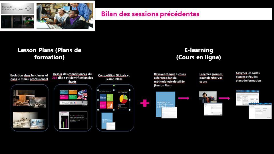 Bilan des sessions précédentes Lesson Plans (Plans de formation) E-learning (Cours en ligne)
