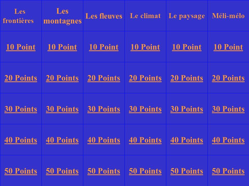 Les frontières Les montagnes Le climatLe paysageMéli-mélo 10 Point 20 Points 30 Points 40 Points 50 Points 10 Point 20 Points 30 Points 40 Points 50 Points 30 Points 40 Points 50 Points Les fleuves