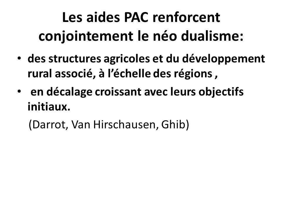 Les aides PAC renforcent conjointement le néo dualisme: des structures agricoles et du développement rural associé, à léchelle des régions, en décalage croissant avec leurs objectifs initiaux.