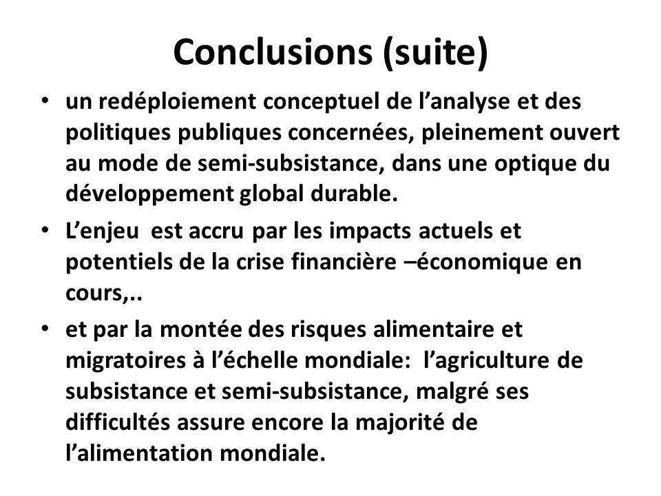Conclusions (suite) un redéploiement conceptuel de lanalyse et des politiques publiques concernées, pleinement ouvert au mode de semi-subsistance, dans une optique du développement global durable.