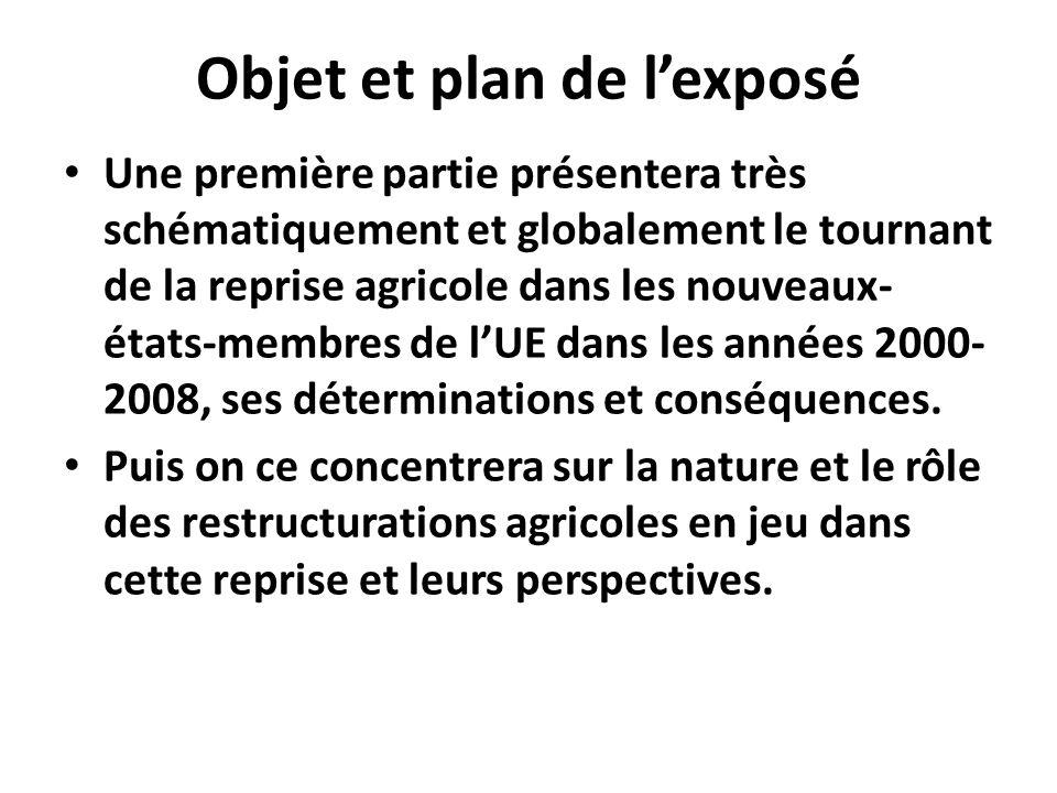 Objet et plan de lexposé Une première partie présentera très schématiquement et globalement le tournant de la reprise agricole dans les nouveaux- états-membres de lUE dans les années 2000- 2008, ses déterminations et conséquences.
