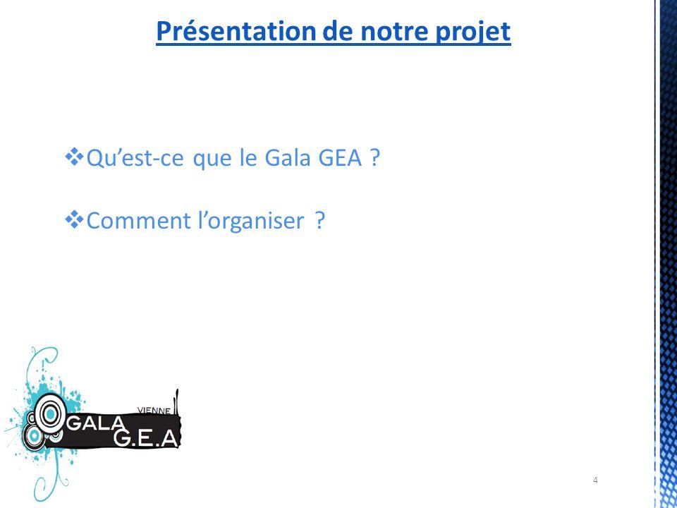 4 Présentation de notre projet Quest-ce que le Gala GEA ? Comment lorganiser ?