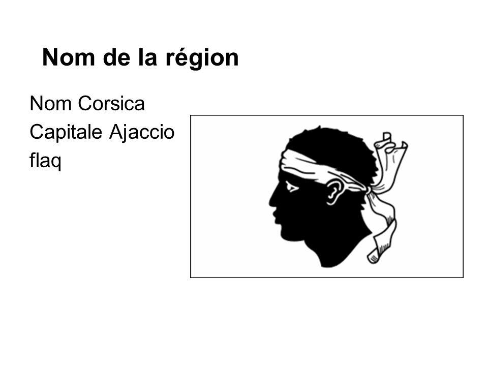 Nom de la région Nom Corsica Capitale Ajaccio flaq