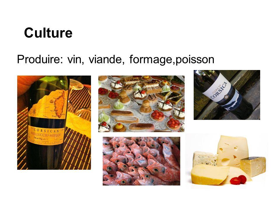 Culture Produire: vin, viande, formage,poisson