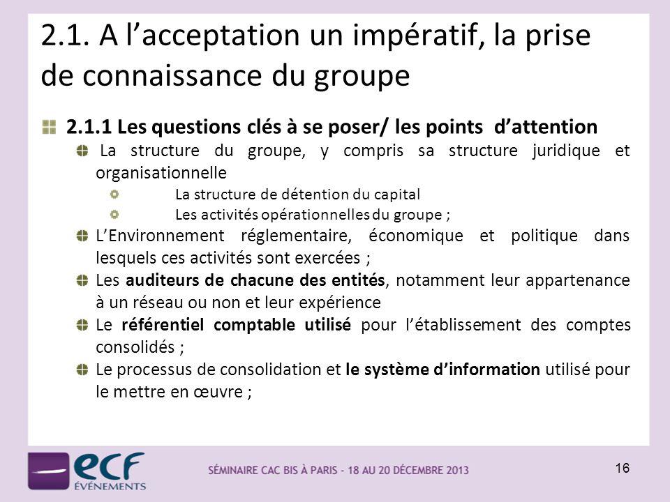 2.1. A lacceptation un impératif, la prise de connaissance du groupe 2.1.1 Les questions clés à se poser/ les points dattention La structure du groupe