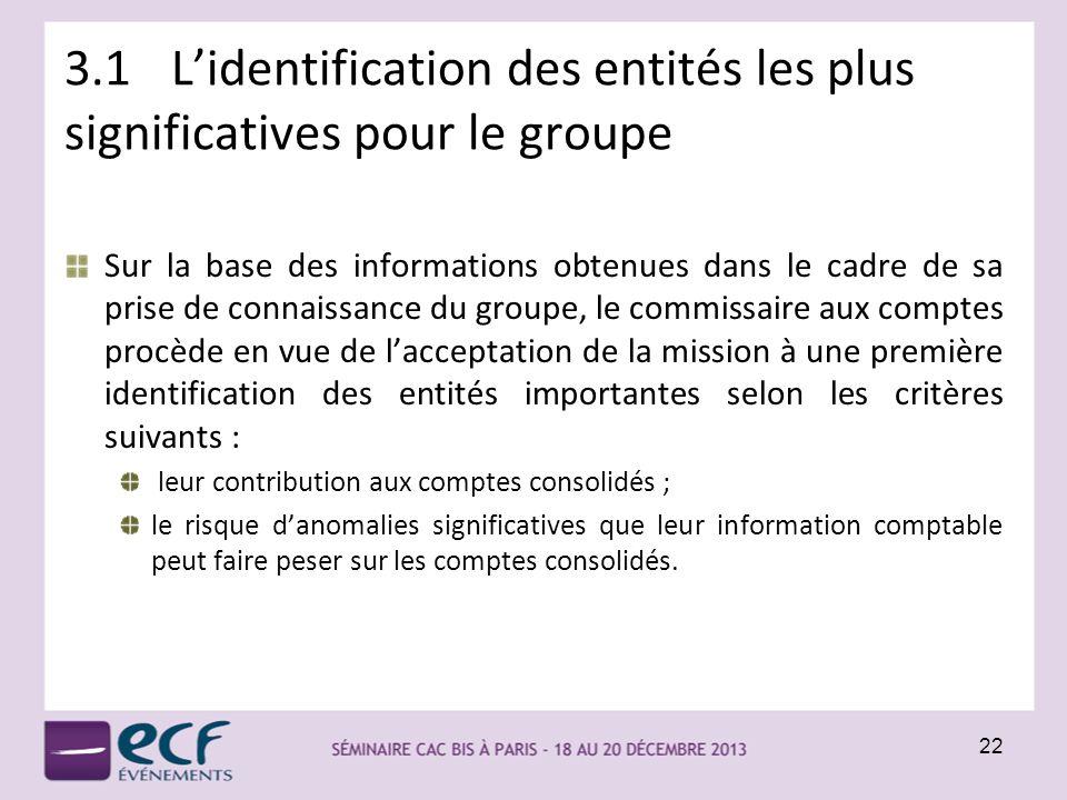 3.1Lidentification des entités les plus significatives pour le groupe Sur la base des informations obtenues dans le cadre de sa prise de connaissance
