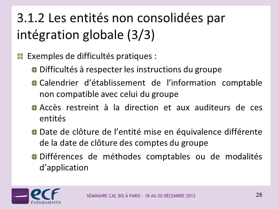 3.1.2 Les entités non consolidées par intégration globale (3/3) Exemples de difficultés pratiques : Difficultés à respecter les instructions du groupe