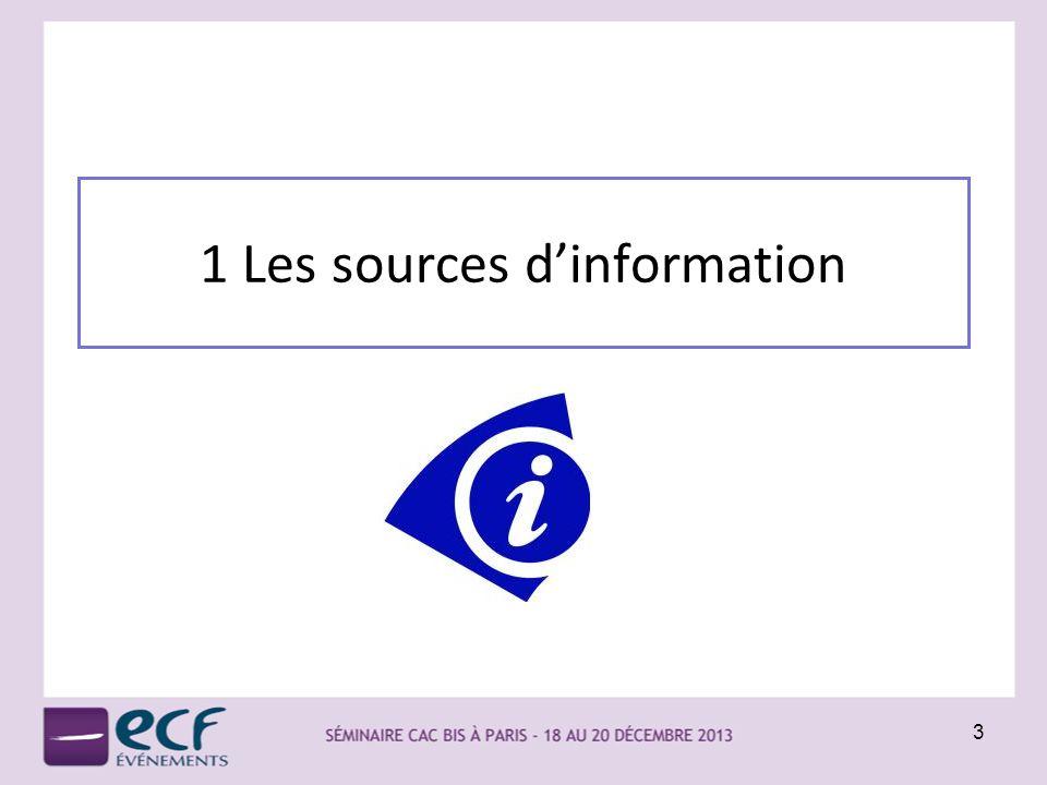 1 Les sources dinformation 3