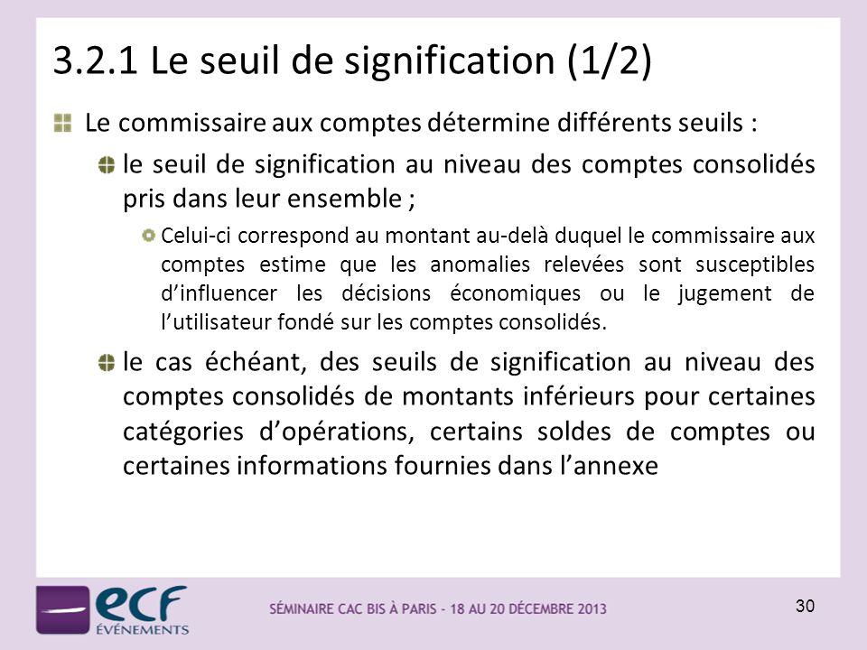 3.2.1 Le seuil de signification (1/2) Le commissaire aux comptes détermine différents seuils : le seuil de signification au niveau des comptes consoli