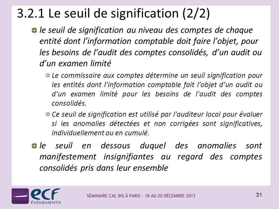 3.2.1 Le seuil de signification (2/2) le seuil de signification au niveau des comptes de chaque entité dont linformation comptable doit faire lobjet,