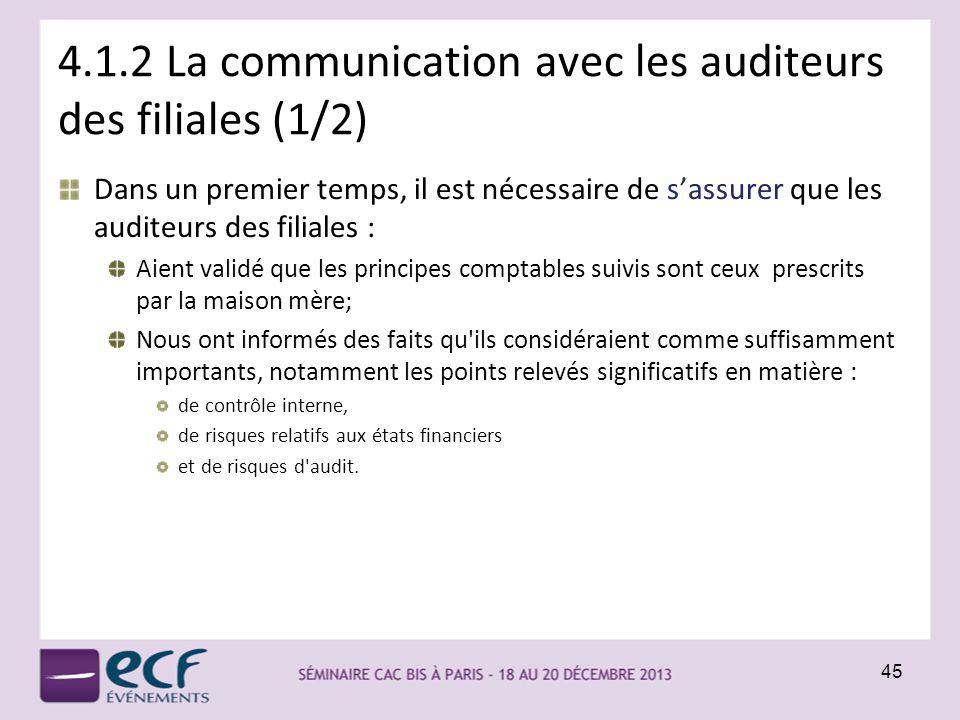 4.1.2 La communication avec les auditeurs des filiales (1/2) Dans un premier temps, il est nécessaire de sassurer que les auditeurs des filiales : Aie