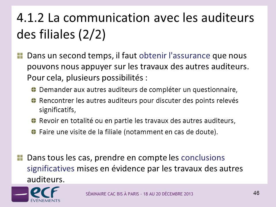 4.1.2 La communication avec les auditeurs des filiales (2/2) Dans un second temps, il faut obtenir l'assurance que nous pouvons nous appuyer sur les t