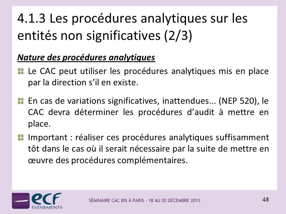 4.1.3 Les procédures analytiques sur les entités non significatives (2/3) Nature des procédures analytiques Le CAC peut utiliser les procédures analyt