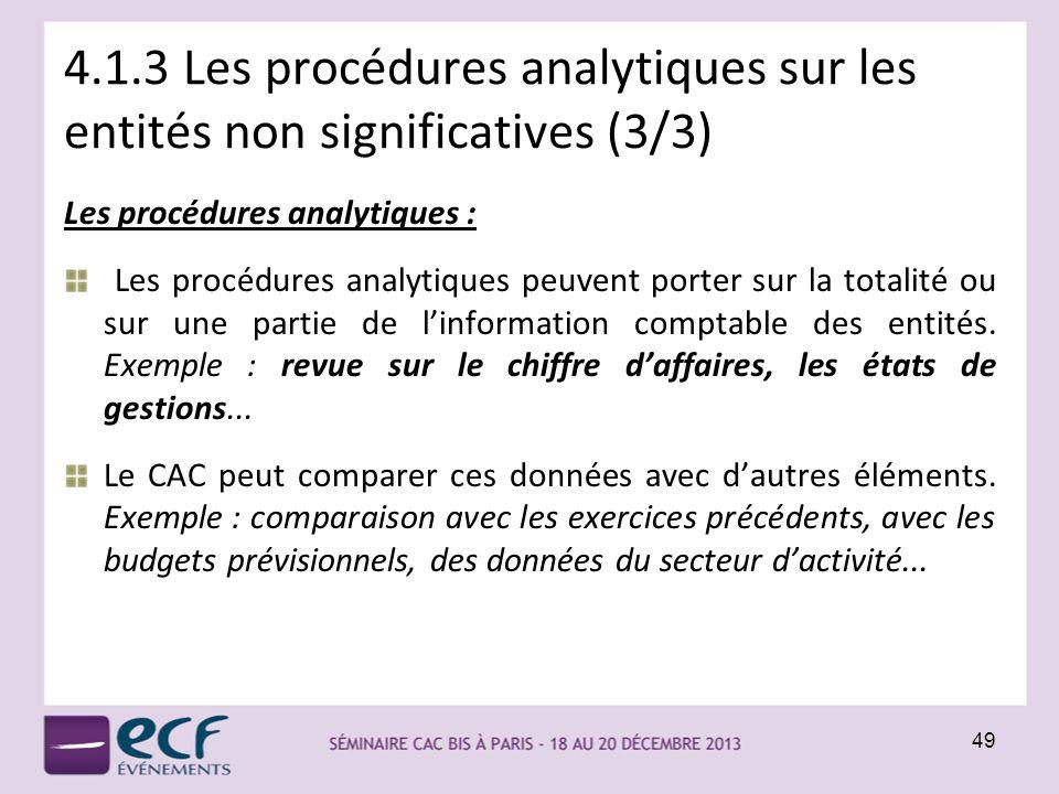 4.1.3 Les procédures analytiques sur les entités non significatives (3/3) Les procédures analytiques : Les procédures analytiques peuvent porter sur l