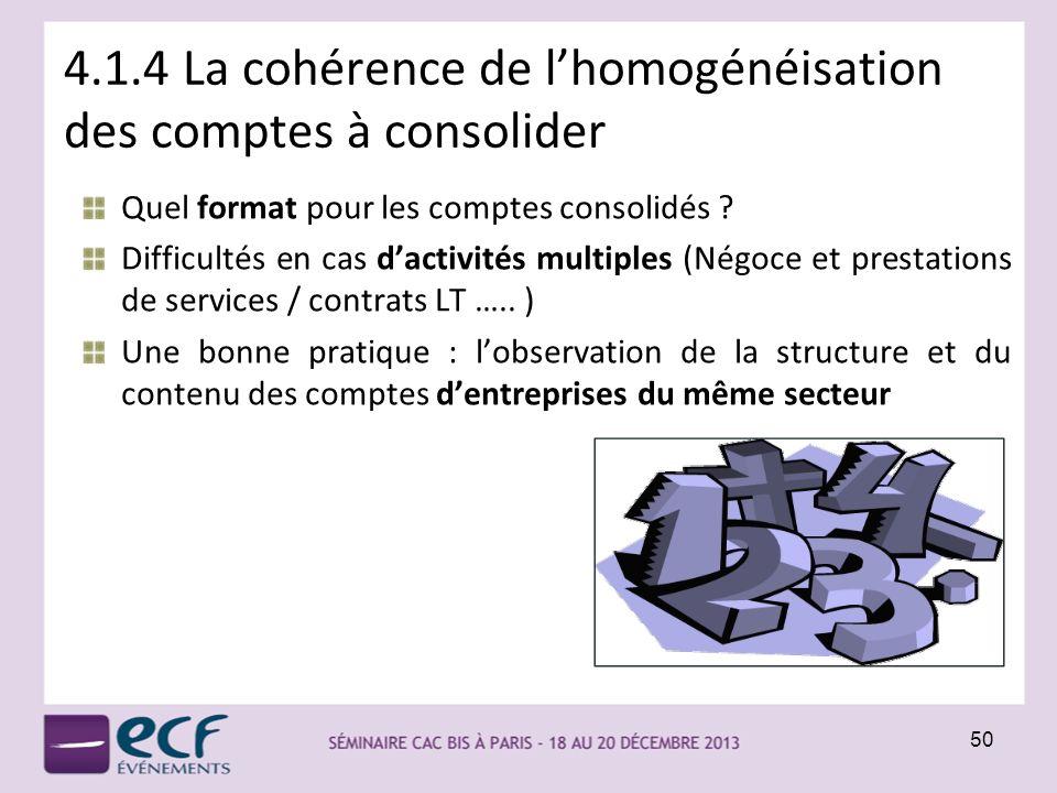 4.1.4 La cohérence de lhomogénéisation des comptes à consolider Quel format pour les comptes consolidés ? Difficultés en cas dactivités multiples (Nég
