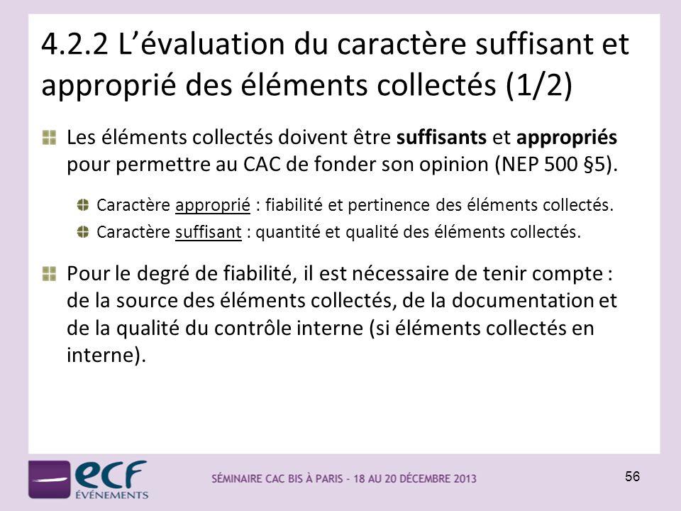 4.2.2 Lévaluation du caractère suffisant et approprié des éléments collectés (1/2) Les éléments collectés doivent être suffisants et appropriés pour p