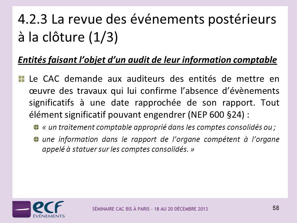 4.2.3 La revue des événements postérieurs à la clôture (1/3) Entités faisant lobjet dun audit de leur information comptable Le CAC demande aux auditeu