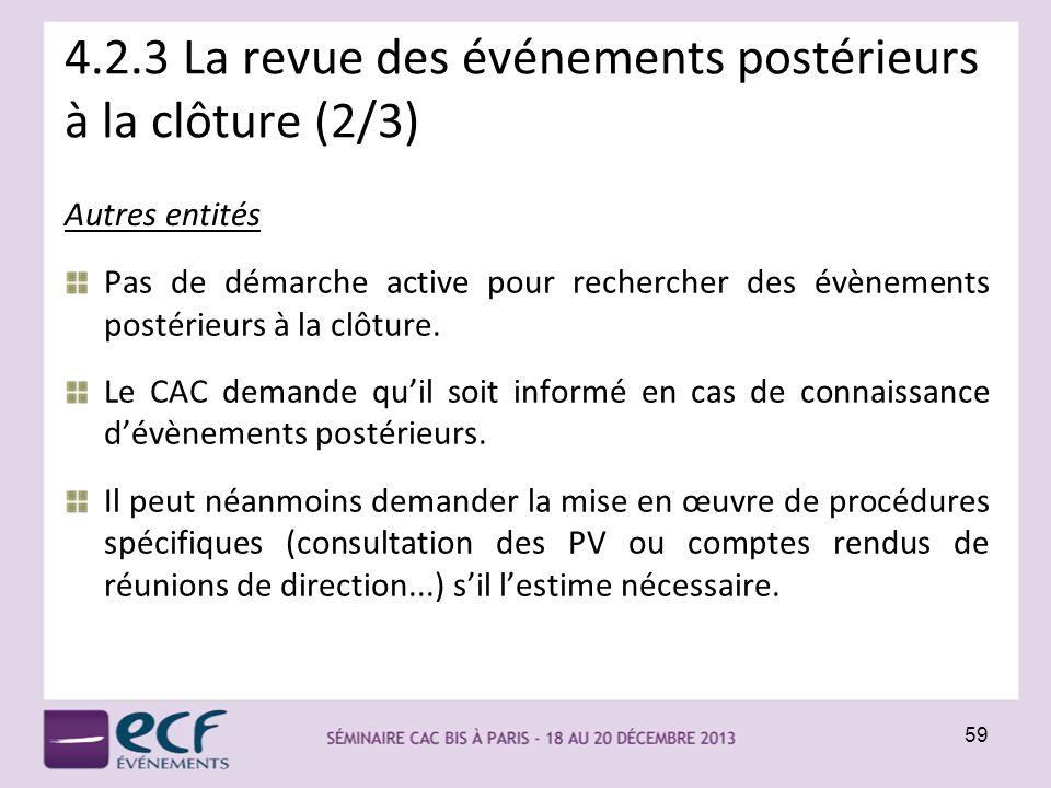 4.2.3 La revue des événements postérieurs à la clôture (2/3) Pas de démarche active pour rechercher des évènements postérieurs à la clôture. Le CAC de
