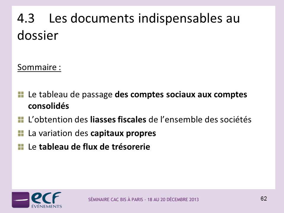 4.3 Les documents indispensables au dossier Sommaire : Le tableau de passage des comptes sociaux aux comptes consolidés Lobtention des liasses fiscale