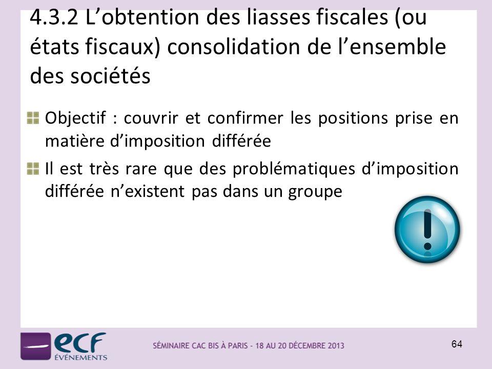 4.3.2 Lobtention des liasses fiscales (ou états fiscaux) consolidation de lensemble des sociétés 64 Objectif : couvrir et confirmer les positions pris