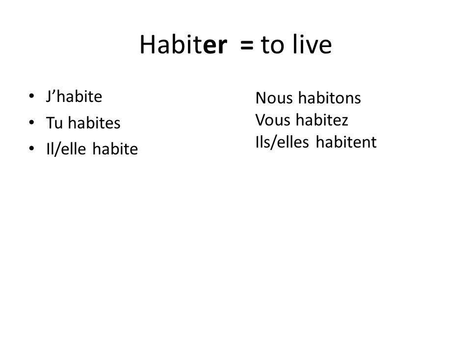 Habiter = to live Jhabite Tu habites Il/elle habite Nous habitons Vous habitez Ils/elles habitent