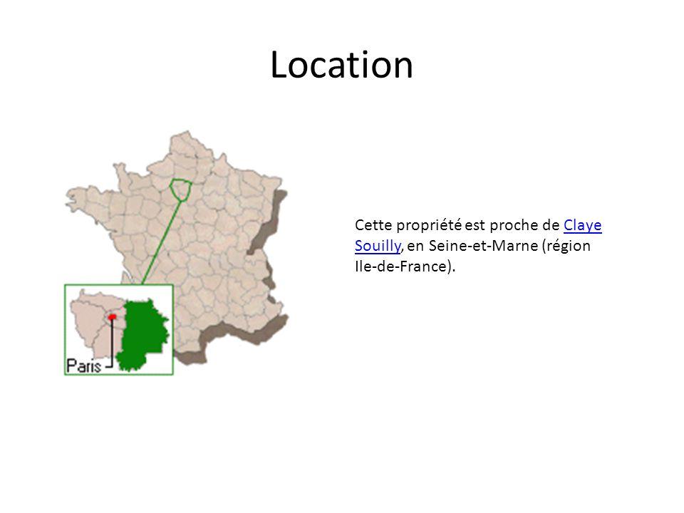 Location Cette propriété est proche de Claye Souilly, en Seine-et-Marne (région Ile-de-France).Claye Souilly