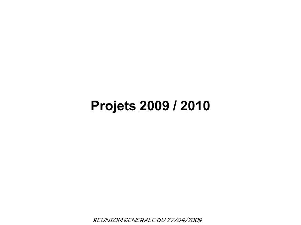 REUNION GENERALE DU 27/04/2009 Projets 2009 / 2010