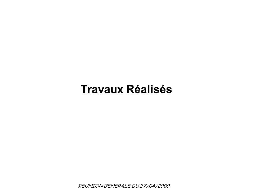 REUNION GENERALE DU 27/04/2009 Travaux Réalisés